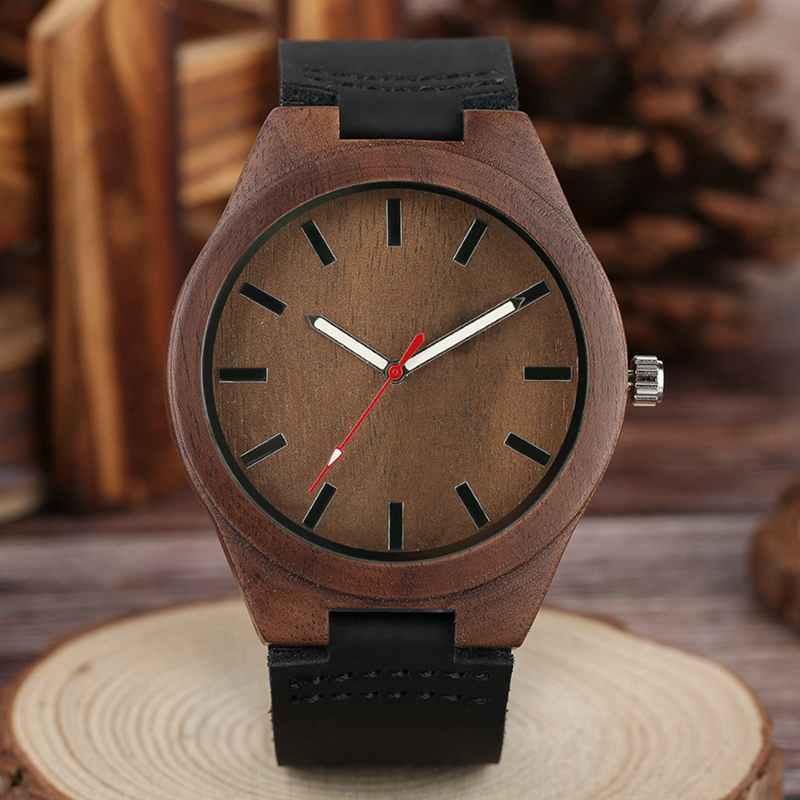 fd3710bad6a Nova Moda Casual Mens Relógio de Quartzo Relógios com Pulseira de Couro  Genuíno Preto Moderno De Madeira De Bambu Natural Homens e Mulheres Relógio  de Pulso