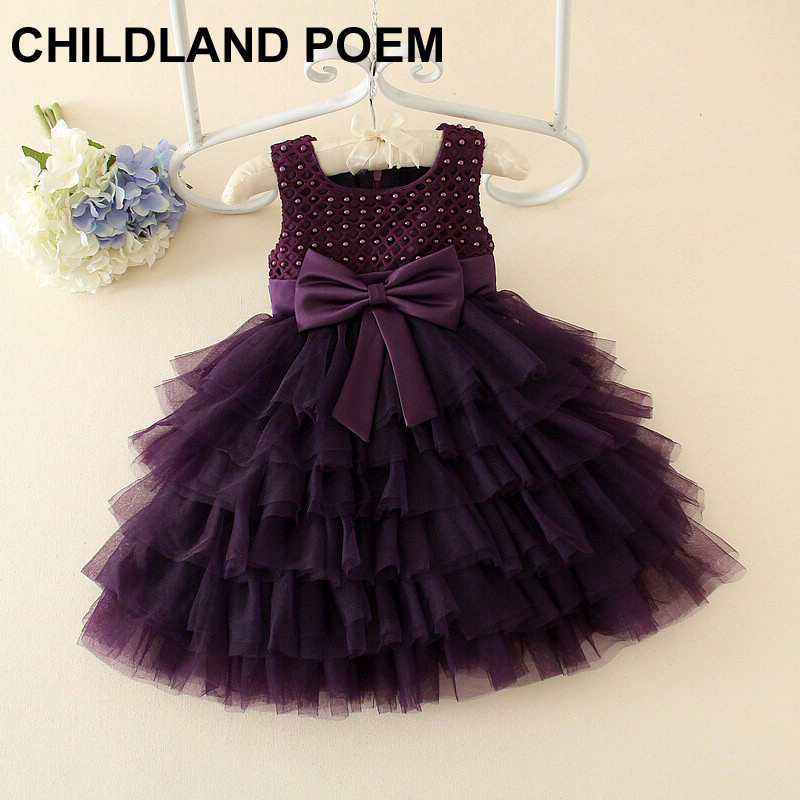 2016 Girls 1 year Birthday Party Dresses Princess baby girls dress girls party Baptism Dress for newborn pearl baby girl dress baby girl dress baptism dress for girl infant 1 year birthday dress for girls chirstening dress wholesale baby boutique clothing
