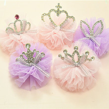 Hair-Clip Crown Ribbon Baby Shiny Girls New-Design Yarn Grid Rhinestone