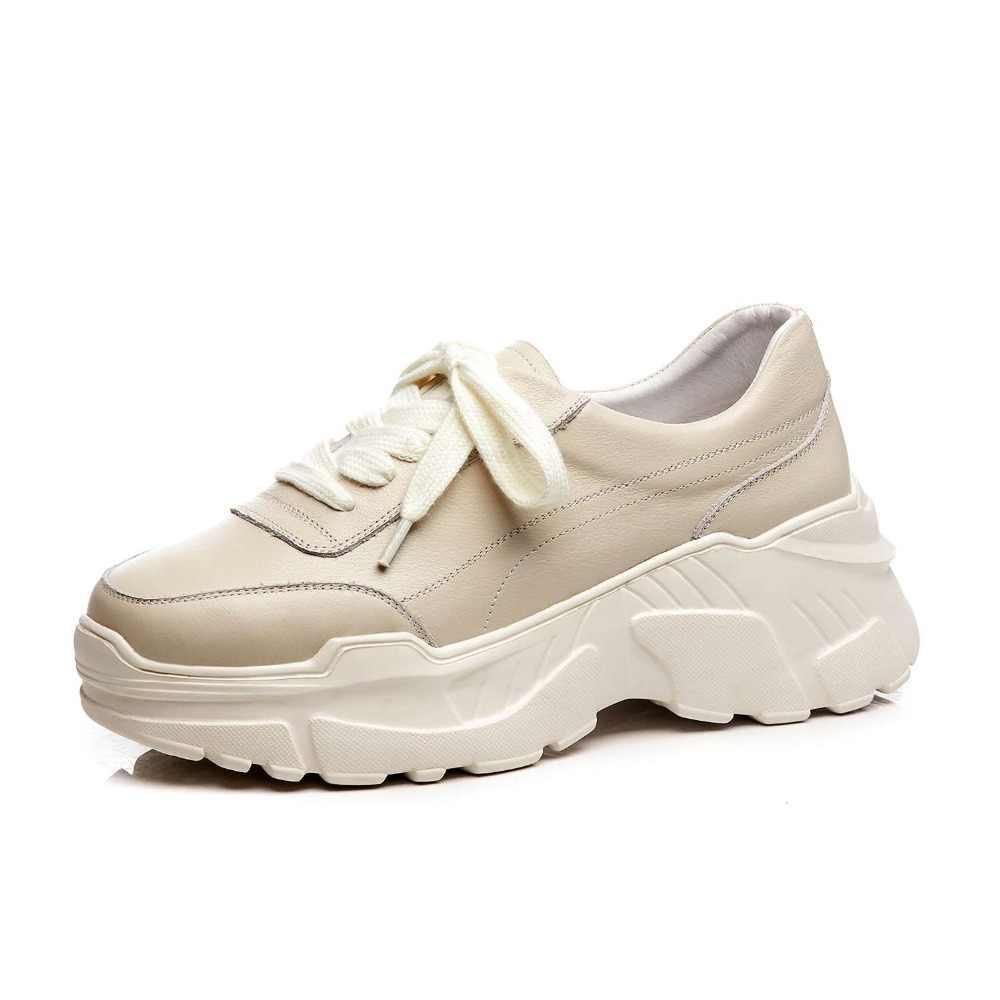 2019 new arrival full grain หนังยอดนิยมสีขาวรองเท้าผ้าใบด้านล่างแพลตฟอร์ม lace up กระชับสไตล์ vulcanized รองเท้า L97