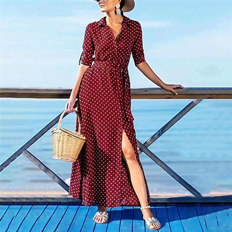0a90e98827 New 2018 Summer Women Boho Dress Fashion Short Sleeve Long Maxi Dresses  Black White Polka Dot