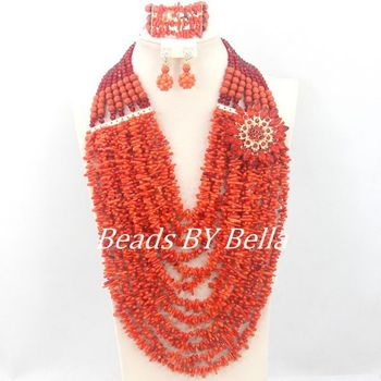 Luxury Wedding Beads Jewelry Set African Red Coral Beads Necklace Set Women Fashion Jewelry 2017 New Free Shipping ABC1223