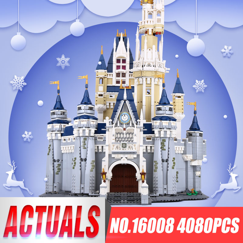 LEPIN 16008 Cinderella Princess Castle City Model Building Block Kid Educational Toys For Children Gift Compatible 71040 lepin 16008 creator cinderella princess castle city 4080pcs model building block kid toy gift compatible 71040