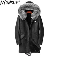 AYUNSUE Genuine Leather Jacket Winter Jacket Men Wool Liner Sheepskin Coat Fox Fur Collar Long Coat JLK18SJF1895 1 MY1255