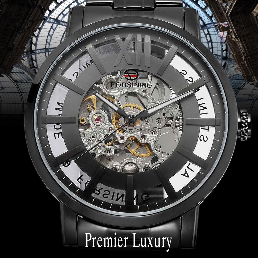 купить Forsining Brand Analog Automatic Watch Men Waterproof Business Watch Men Steel Wristwatch Relogio Masculino по цене 5167.81 рублей