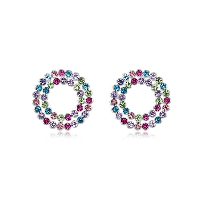 Hot Sale Austria Crystal Lady Circle Stud Earrings Bulk