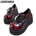 2016 Japanese Harajuku punk black wine red high platform McDonald's big head sweet lolita platform shoes wedges pumps