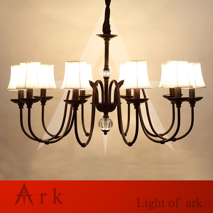 цена на ARK LIGHT iron art minimalist rural Nordic restaurant bedroom led European-style chandelier black color 10 heads light