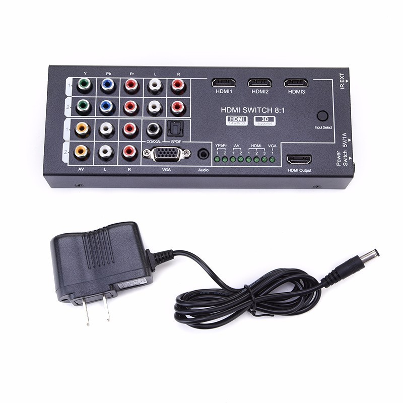 Digital Latest Generation Multi-Functional HDMI Audio Extractor with 8 Inputs to 1 HDMI Output with Optical Coaxial Support 3D 8 inputs to 1 output multi function video audio adapter switch multi format switcher with remote controller ypbpr av vga