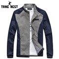 Hot Sale Casaco Masculino 2017 Casual Slim Men Jacket Patchwork Single Breasted Mandarin Collar Coat Male Veste Homme MWJ917