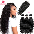 Beau hair Deep Wave Human Hair Bundles With Closure 4 pcs/lot Brazilian Hair Weave Bundles With Closure Non Remy Hair Extension