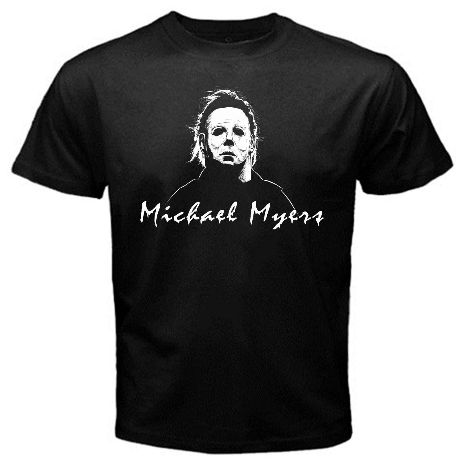 2018 New Fashion Men Tee Shirt Michael Myers mask movie vintage Halloween T-Shirt Black creepy clown