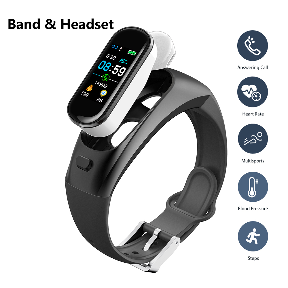 Smart Bracelet Heart Rate Blood Pressure Fitness Bracelet Bluetooth Earphone Smart Wristband With Headset For Android IOS