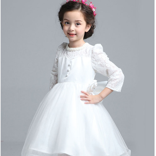 White Party Dresses for Teens with Long Sleeves