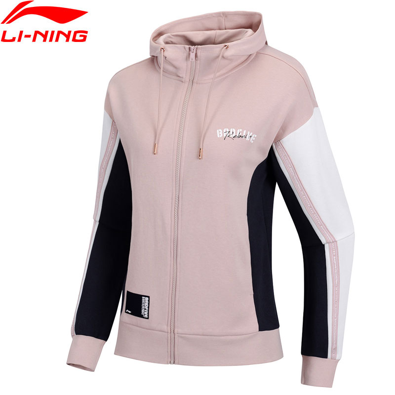 Li Ning Women Basketball Hoodies 82 Cotton 18 Polyester Regular Fit Zipper LiNing Comfort Sport Hooded