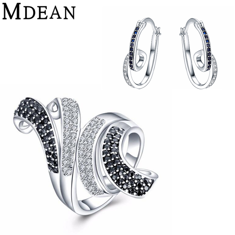 MDEAN CZ diamond font b jewelry b font White Gold Plated font b Jewelry b font