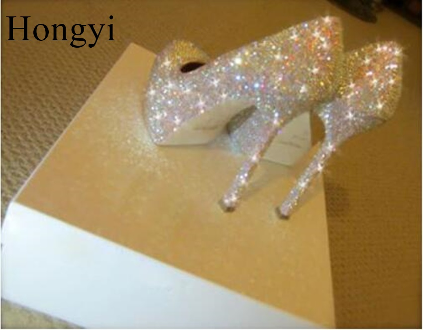 Hongyi Silver crystal bling bling high heel wedding shoes platform glittering diamond bridal shoes unique design party pumps bling bling crystal flower thin high shoes glittering wedding banquet pumps princess glass slipper