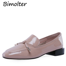Bimolter 2019 NEW women Confort Creeper Casual Simply Cow Leather Flats Pink Black Spring oxfords Knot Footwear NC101