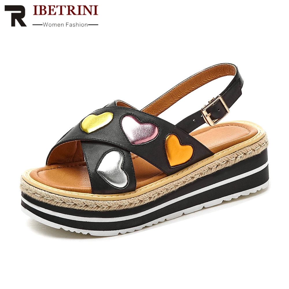 RIBETRINI Brand New Luxury Summer Sandals 2019 women's Genuine Leather Ladies Wedges High Heels Shoes Woman Casual Ol Sandals