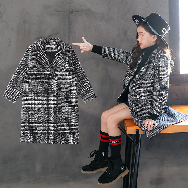 Korean Slim Girls Wool Winter Coats Double breasted Children's Trench Jackets Blazer Ropa De Ninas Girl Coats Outwear TZ43 чокеры bizon чокер с кулоном кожа