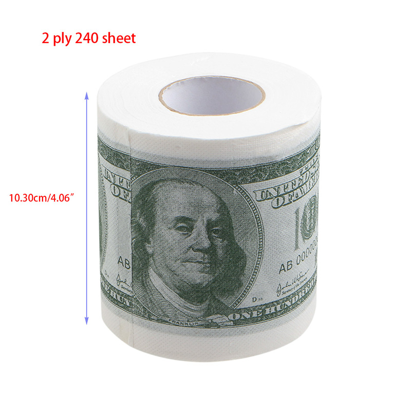 Купить с кэшбэком 1Pc Funny One Hundred Dollar Bill Toilet Roll Paper Money Roll $100 Novel Gift On Sale
