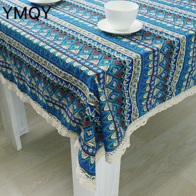 High Quality Multi Purpose Linen Blue Triangle With Lace Tablecloths And Table  Cloth Tablecloth Table