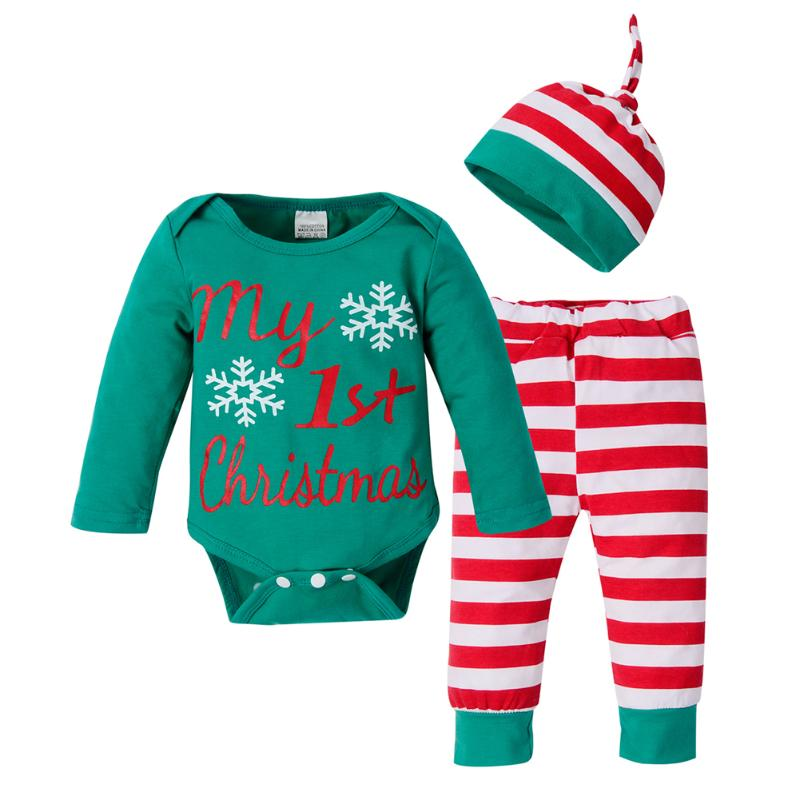 3Pcs/Set Christmas Boutique Newborn Baby Clothes Set Xmas Letters Snowflake Romper +Striped Pants +Hat For Baby Holiday Outfit 3pcs set newborn girls christmas clothes set warm hat letter print romper love arrow print pants leisure toddler baby outfit set