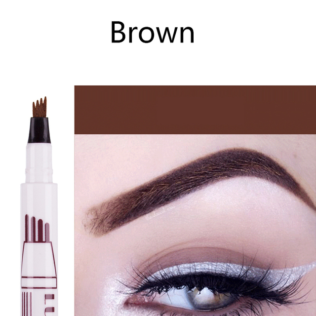 Hot Selling 3 Colors Liquid Tattoo Eyebrow Pencil with Four Tips Long-Lasting Waterproof Microblading Tattoo Eyes Pen Makeup 2