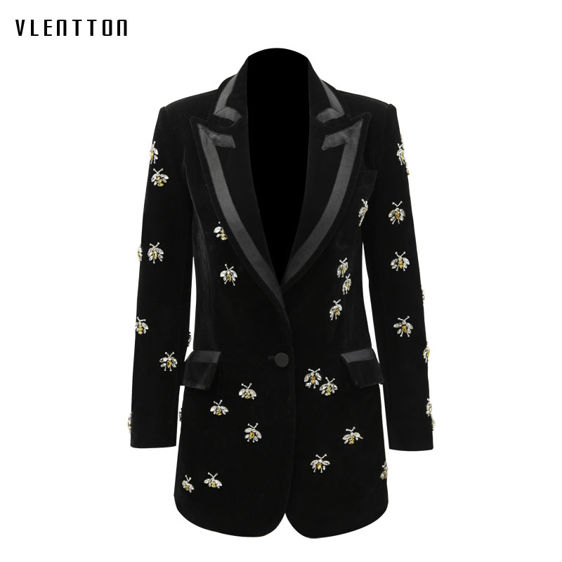 Gold Velvet Plus Size Women's Jacket Blazer Animal Beading Single Button Long Sleeve Black Elegant Office Ladies Blazers Outwear