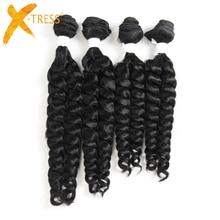 X-TRESS Фунми вьющиеся синтетические волосы Weave 4 Связки натуральный черный цвет короткие волосы прядями расширения высокое температура волокно ткачество