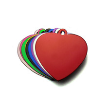 Set Aluminum ID Tags in Shape Love Heart for Cat
