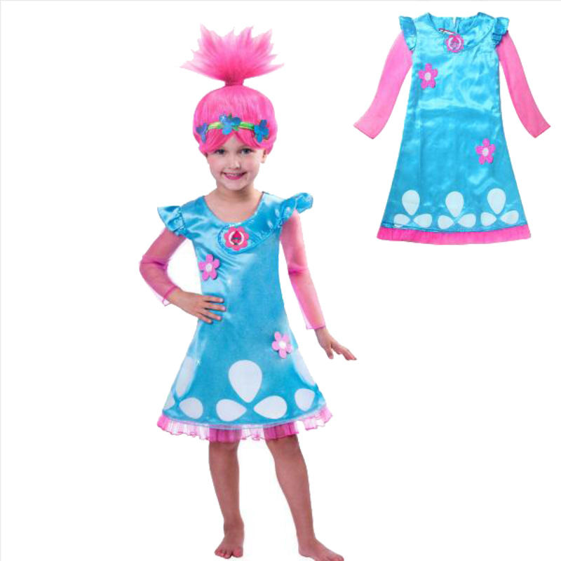 2018  New Trolls Magic Elf Children Dress Princess Polyester  Trolls Dresses For Girls Cosplay Costume Halloween Anime