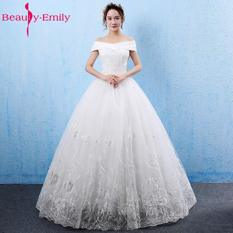 Beauty Emily White Wedding Dresses 2017 vestido de casamento Boat Neck Off the Shoulder Ball Gown Wedding Party Bridal Dresses