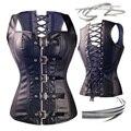 Preto Sexy Mulheres de Aço Espiral Desossado Faux Leather Zipper Overbust Corset Steampunk Bustier Strap