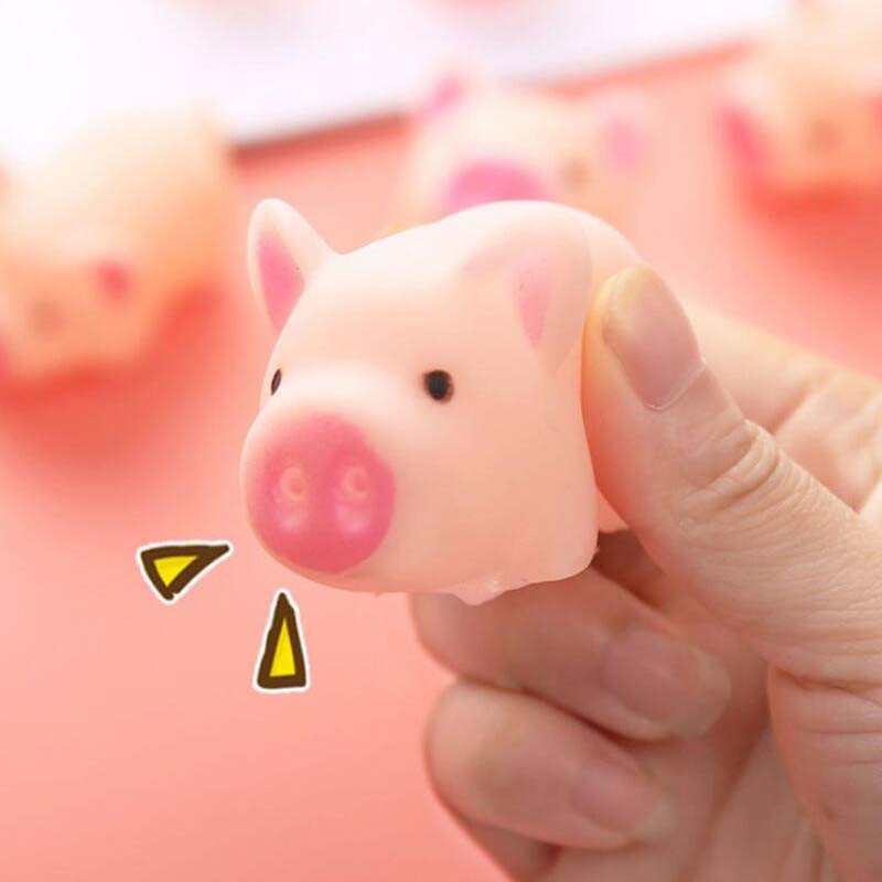 Dropshipp Creative Cartoon Cute Pink Pig Kids Toys  Lovely Pink Girl Piggy Toy Squeezing Vent Pig Stress Relief Toy Squeeze Toys