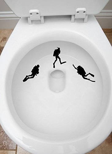 3PCS Toilet Targets Scuba Divers Aim Practice Collection Vinyl Decal Sticker Application Kids Fun