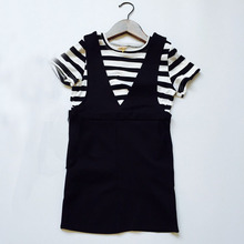 wholesale (5pcs/lot) 2016 summer striped t-shirt + black Suspender skirts clothes set for age 2-7 years child girl