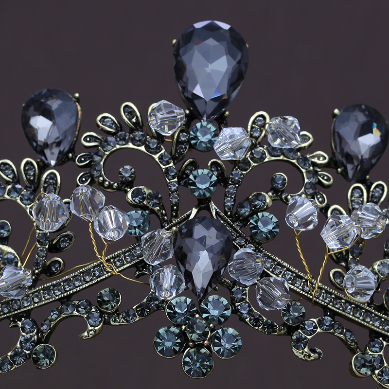 Vintage Baroque Handmade Bride Wedding Hair Jewelry Black Crystal Rhinestones Tiaras Bridal Crown Prom Veil Tiara Headband in Hair Jewelry from Jewelry Accessories