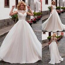 Büyüleyici şifon Jewel boyun çizgisi A Line düğün elbisesi dantel aplikler ve kemer Lace Up gelin elbise vestidos de 15