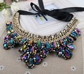 2015 New Multilayer Vintage Rhinestone Flower Necklaces Black Long Rope Choker Collar Necklace For Women