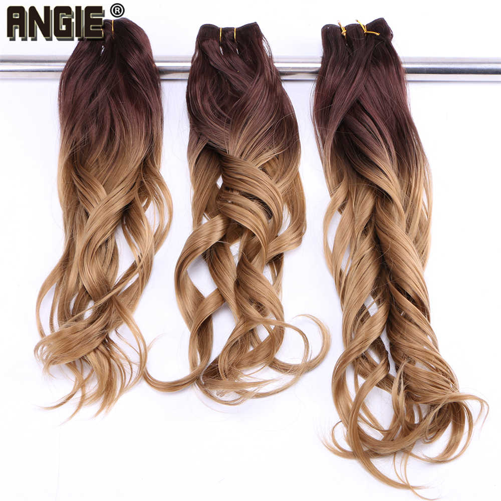 ANGIE 4/27 Ombre two tone Wavy synthetic hair weave bundles 100% heat resistant Hair Extensions Curly hair Bundles 1 Piece