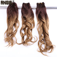 ANGIE 4/27 Ombre two tone Wavy synthetic hair weave bundles 100% heat resistant Hair Extensions Curly hair Bundles 1 Piece(China)
