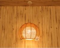 Бамбуковый Ротанг подвесные светильники Японский ретро круглый ротанговый садовый Балконный светильник абажур спальня кабинет подвесные