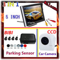 "5""tft Car Mirror Monitor + CCD Rear View Camera Car + Auto Parking  Assist Video Reverse Radar System 4 Sensor 7 Colors choose"