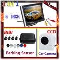 "5""tft Car Mirror Monitor + CCD Rear View Camera Car + Auto Parking  Assist Video Reverse Radar System 4 Sensor 7 Colors choose"