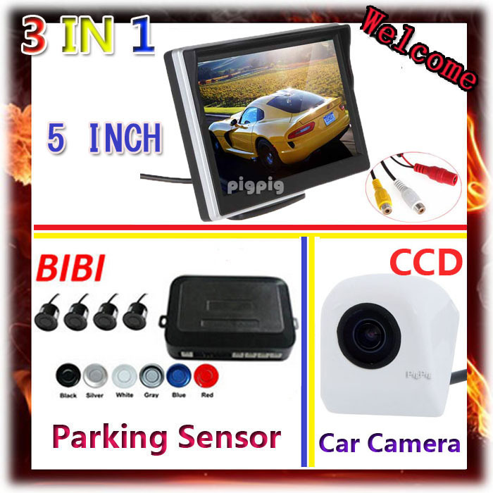 5tft Car Mirror Monitor + CCD Rear View Camera Car + Auto Parking Assist Video Reverse Radar System 4 Sensor 7 Colors choose