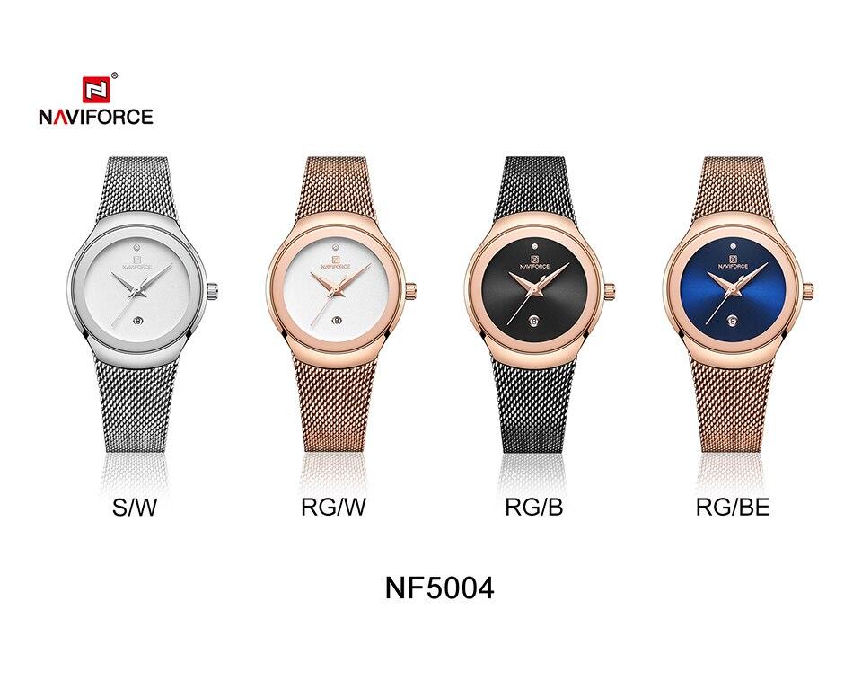 NAVIFORCE Relojes de mujer Top Marca de lujo Dama Moda Casual Correa de malla de acero simple Reloj de pulsera de regalo para niñas Relogio Feminino (10)