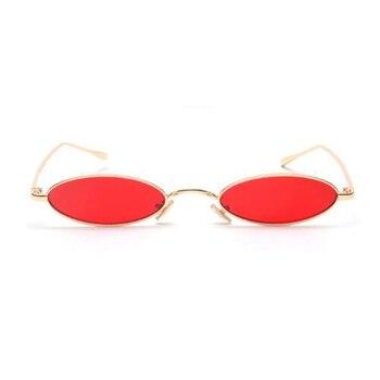 Küçük Oval Kadınlar Erkekler Için Güneş Gözlüğü Erkek Retro Metal Çerçeve Sarı Kırmızı Lens Gölge Vintage Yuvarlak güneş gözlüğü Gözlük UV400