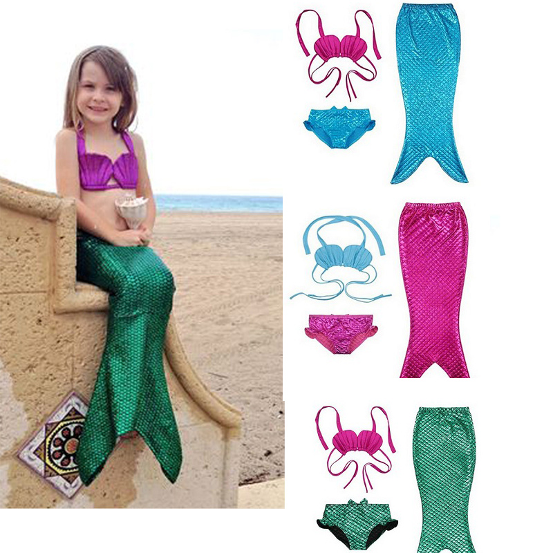 3-9Y Child Fantasia Para Nadar Ariel Mermaid Costumes Kids Mermaid Tail Swimmable Bikini Set Bathing Suit Fancy Cosplay Costume