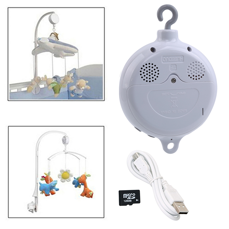 Song Rotary Baby Mobile Crib Rattles Bed Bell Toy Battery-operated Movement Music Box Stroller Hanging Bell Toys + 128MB SD Card